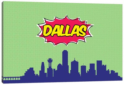 Comic Book Skyline Series: Dallas Canvas Art Print