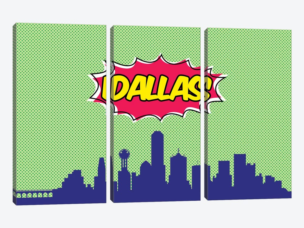 Comic Book Skyline Series: Dallas by Octavian Mielu 3-piece Canvas Art Print