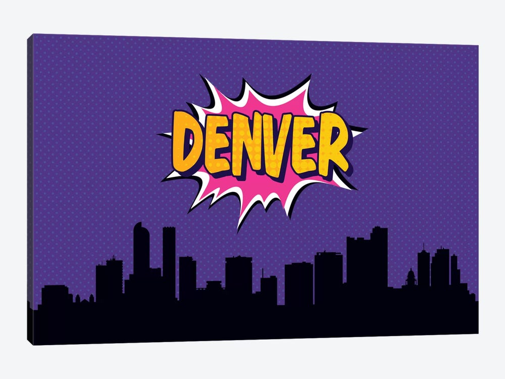 Comic Book Skyline Series: Denver 1-piece Canvas Wall Art