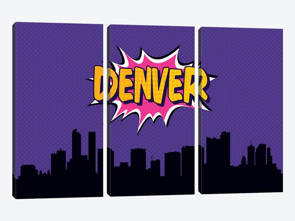 Comic Book Skyline Series: Denver 3-piece Canvas Art
