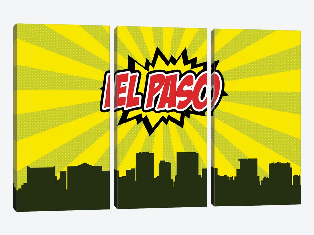 Comic Book Skyline Series: El Paso by Octavian Mielu 3-piece Canvas Artwork
