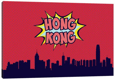 Comic Book Skyline Series: Hong Kong Canvas Art Print