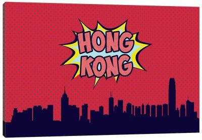 Comic Book Skyline Series: Hong Kong Canvas Print #OMU69