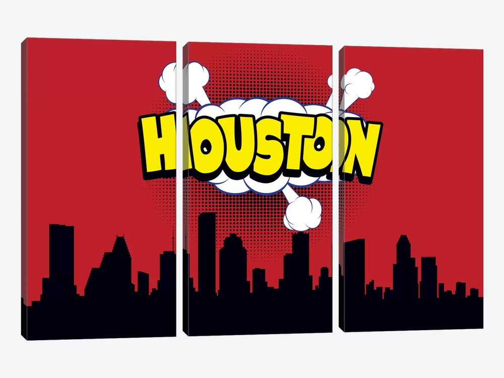 Comic Book Skyline Series: Houston by Octavian Mielu 3-piece Art Print