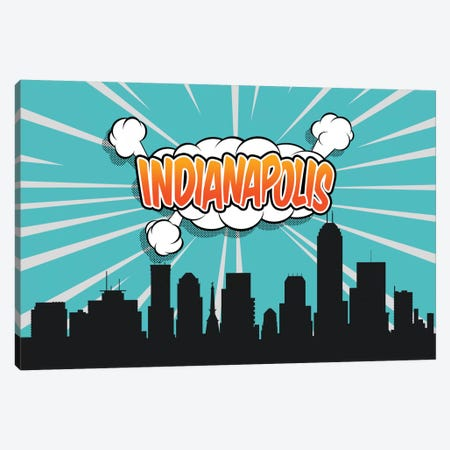 Comic Book Skyline Series: Indianapolis Canvas Print #OMU71} by Octavian Mielu Art Print