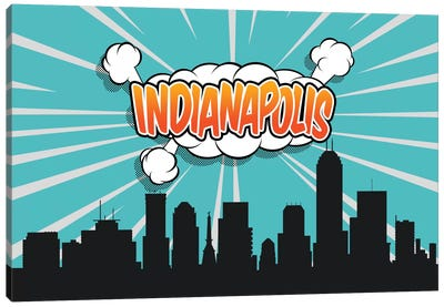 Comic Book Skyline Series: Indianapolis Canvas Print #OMU71
