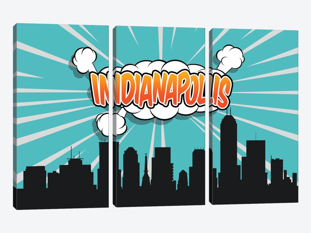 Indianapolis by Octavian Mielu 3-piece Canvas Art