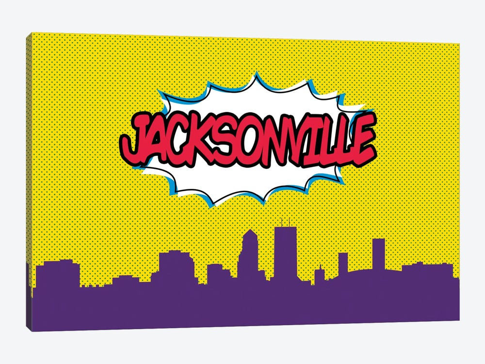 Comic Book Skyline Series: Jacksonville by Octavian Mielu 1-piece Canvas Art Print