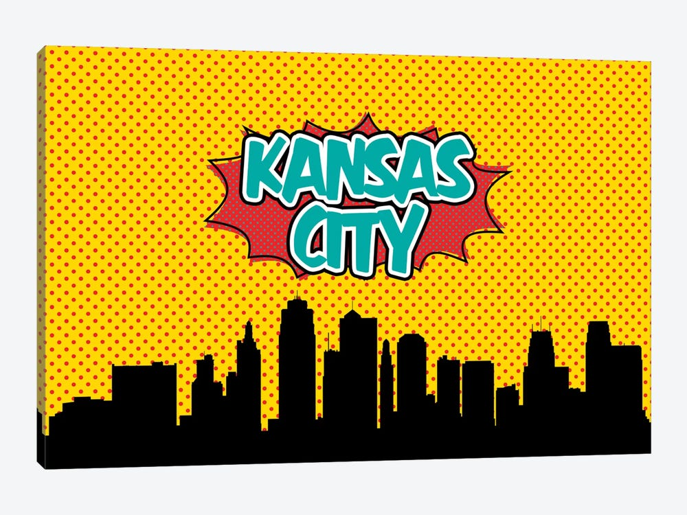 Comic Book Skyline Series: Kansas City by Octavian Mielu 1-piece Canvas Artwork