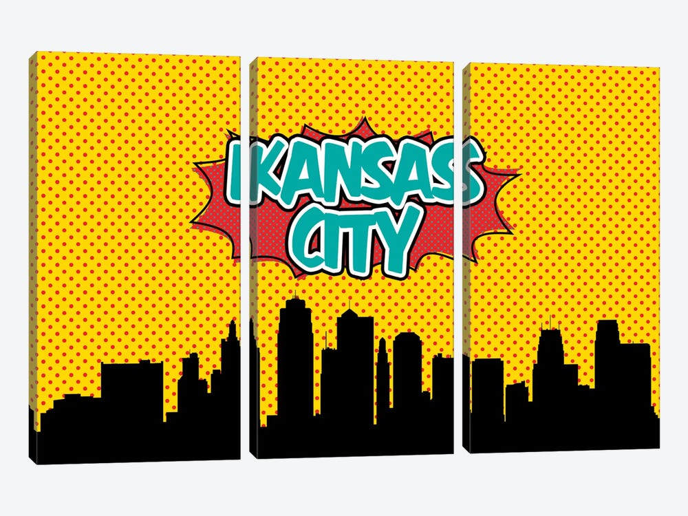 Comic Book Skyline Series: Kansas City by Octavian Mielu 3-piece Canvas Art