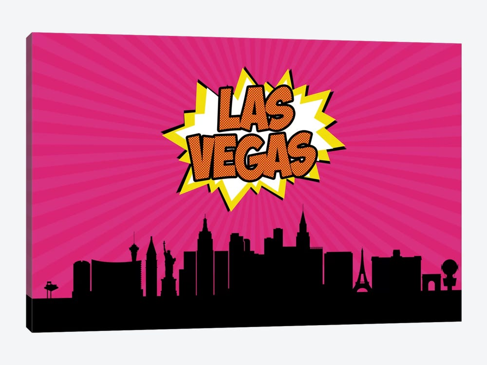 Comic Book Skyline Series: Las Vegas by Octavian Mielu 1-piece Canvas Art Print