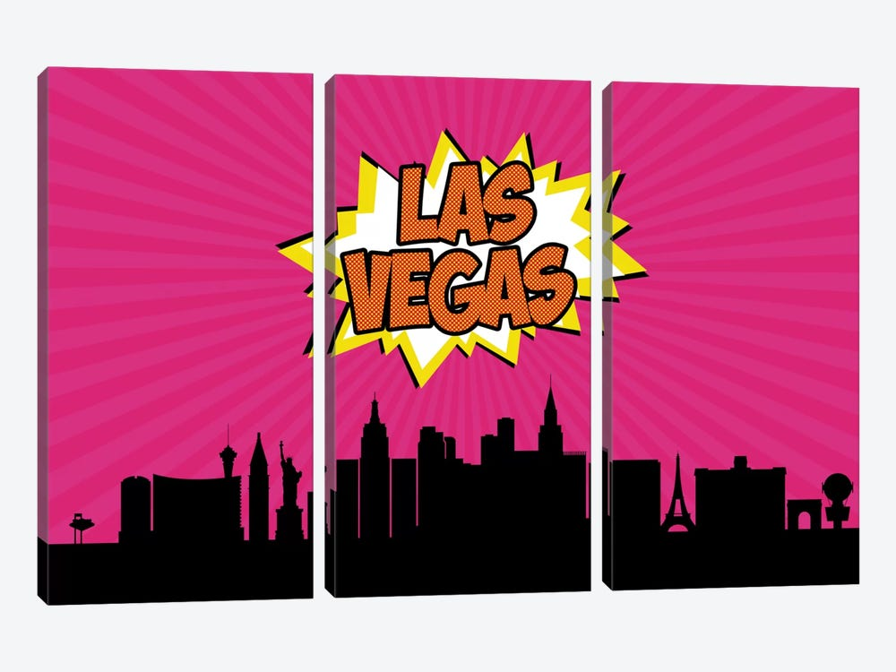 Comic Book Skyline Series: Las Vegas by Octavian Mielu 3-piece Canvas Art Print