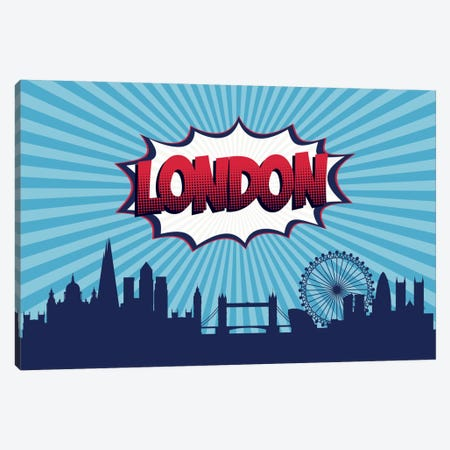 Comic Book Skyline Series: London Canvas Print #OMU75} by Octavian Mielu Canvas Wall Art