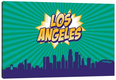Comic Book Skyline Series: Los Angeles Canvas Art Print