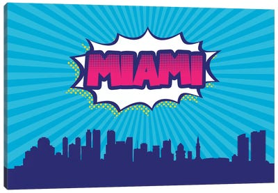 Comic Book Skyline Series: Miami Canvas Art Print