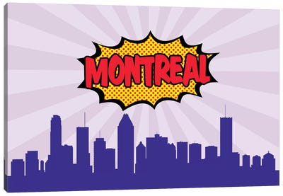 Comic Book Skyline Series: Montreal Canvas Art Print