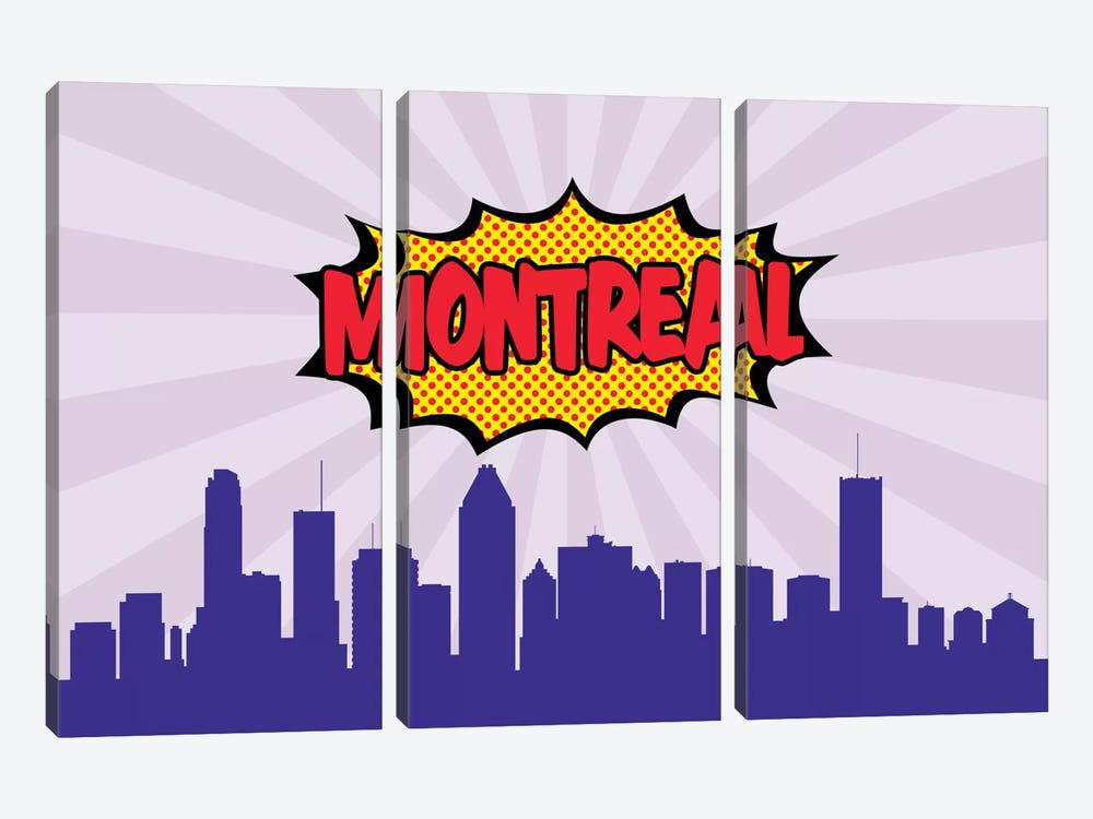 Comic Book Skyline Series: Montreal by Octavian Mielu 3-piece Canvas Wall Art