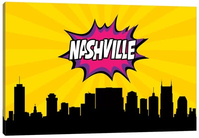 Comic Book Skyline Series: Nashville Canvas Art Print