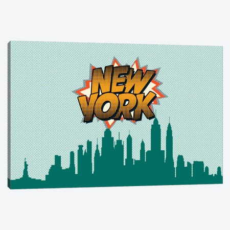 Comic Book Skyline Series: New York City Canvas Print #OMU81} by Octavian Mielu Canvas Wall Art