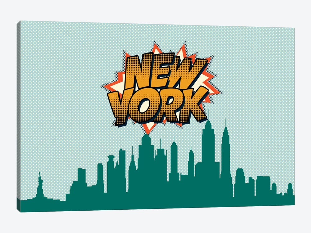Comic Book Skyline Series: New York City by Octavian Mielu 1-piece Canvas Print