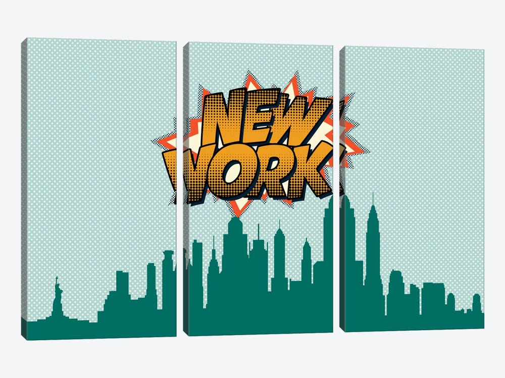 Comic Book Skyline Series: New York City by Octavian Mielu 3-piece Canvas Art Print