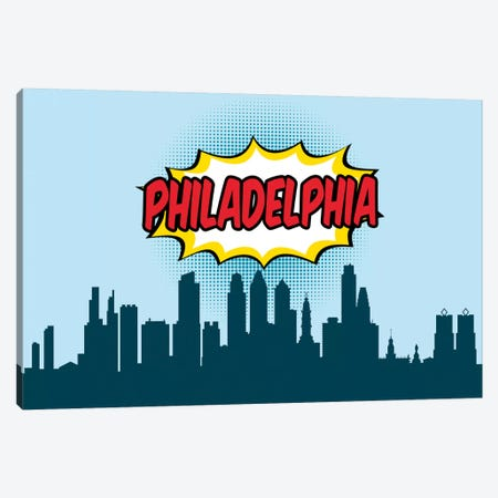 Comic Book Skyline Series: Philadelphia Canvas Print #OMU83} by Octavian Mielu Canvas Artwork