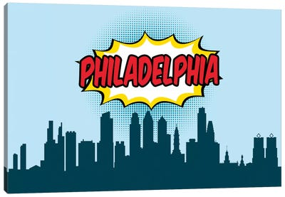 Comic Book Skyline Series: Philadelphia Canvas Print #OMU83