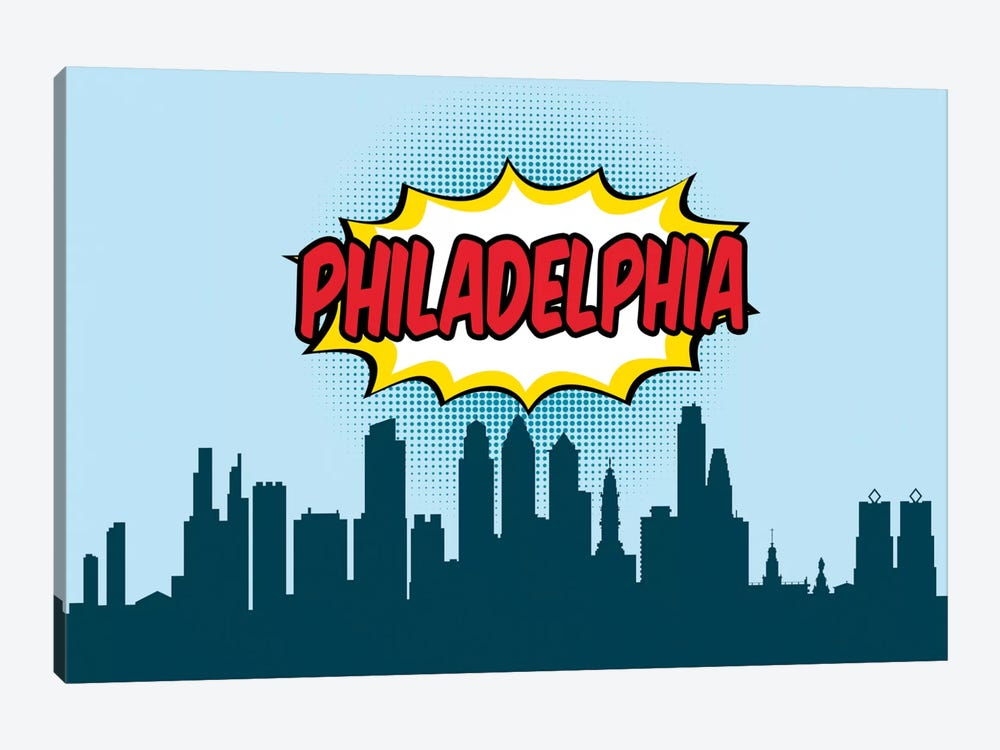 Comic Book Skyline Series: Philadelphia by Octavian Mielu 1-piece Canvas Art Print