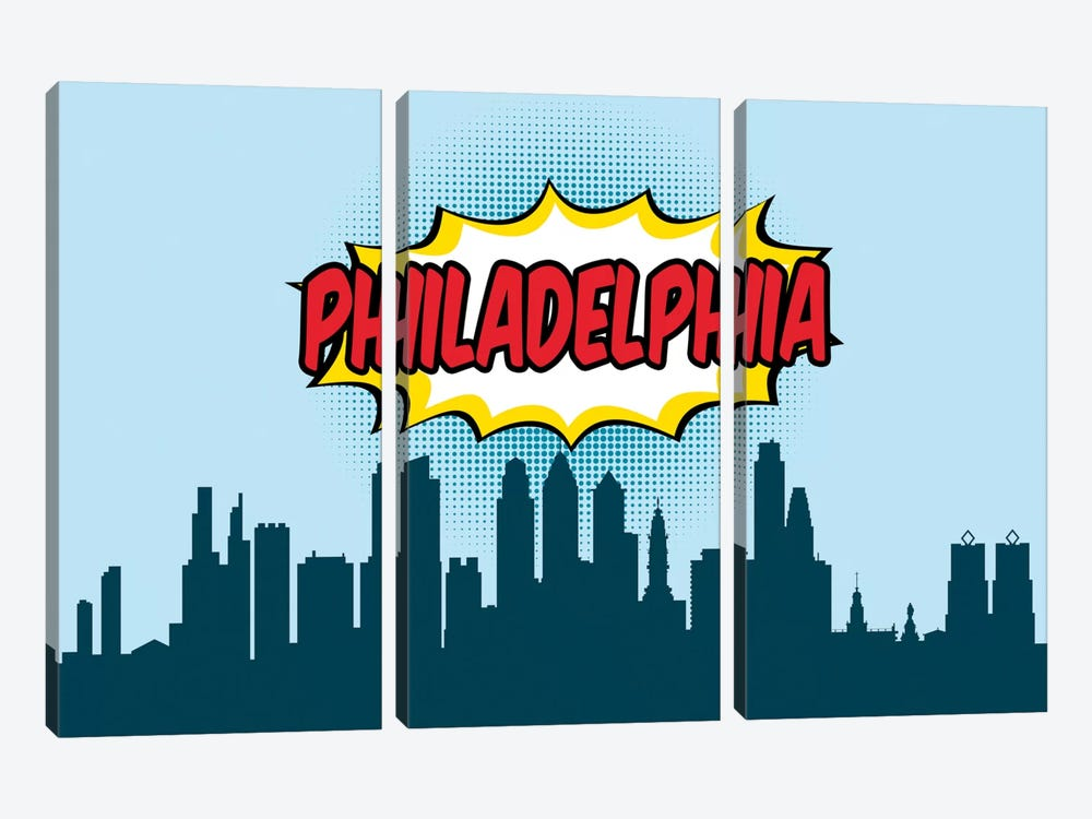 Comic Book Skyline Series: Philadelphia by Octavian Mielu 3-piece Art Print