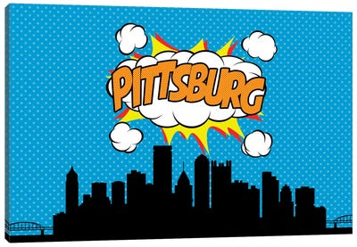 Comic Book Skyline Series: Pittsburg Canvas Art Print