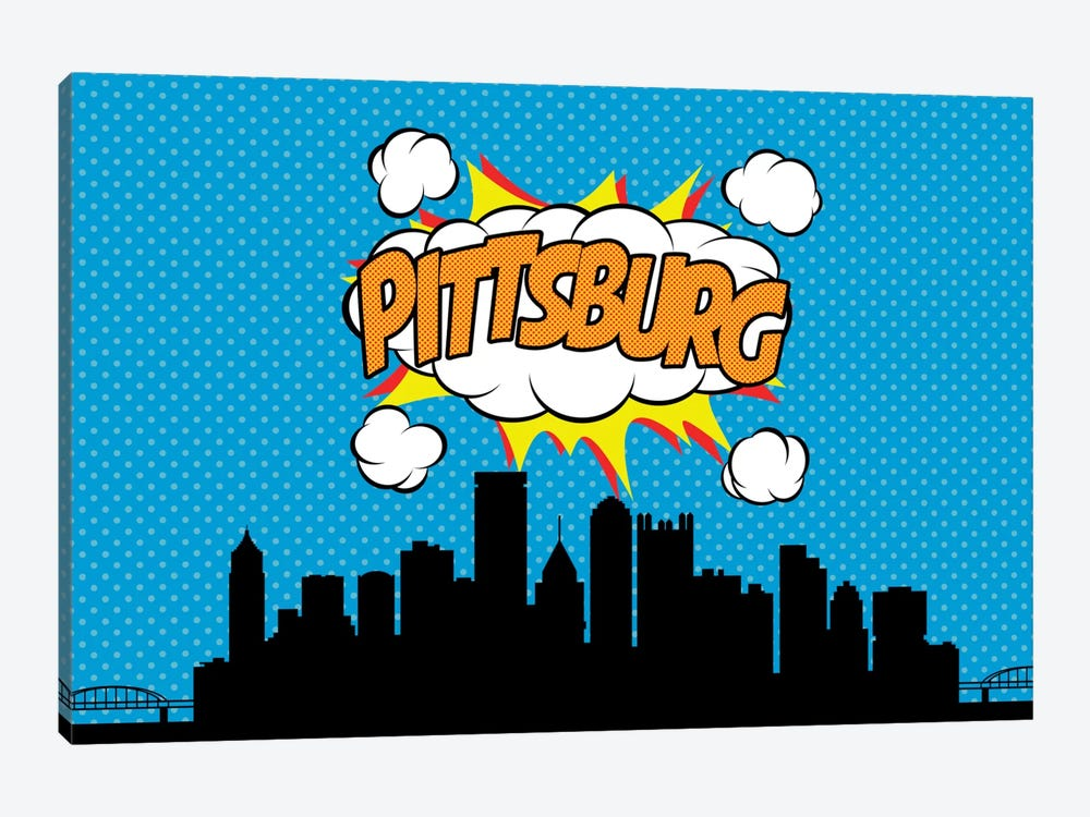Comic Book Skyline Series: Pittsburg 1-piece Canvas Print