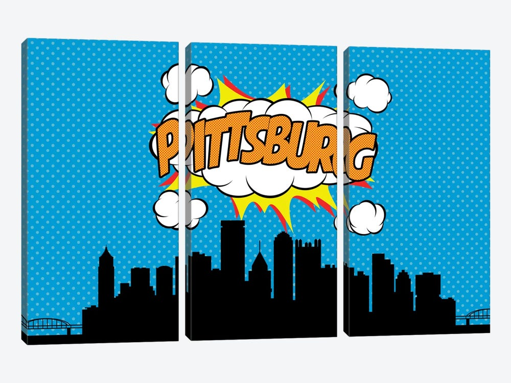 Pittsburg by Octavian Mielu 3-piece Canvas Print