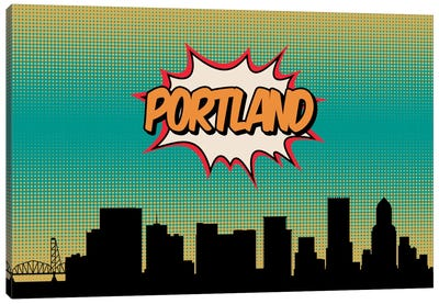 Comic Book Skyline Series: Portland Canvas Print #OMU86