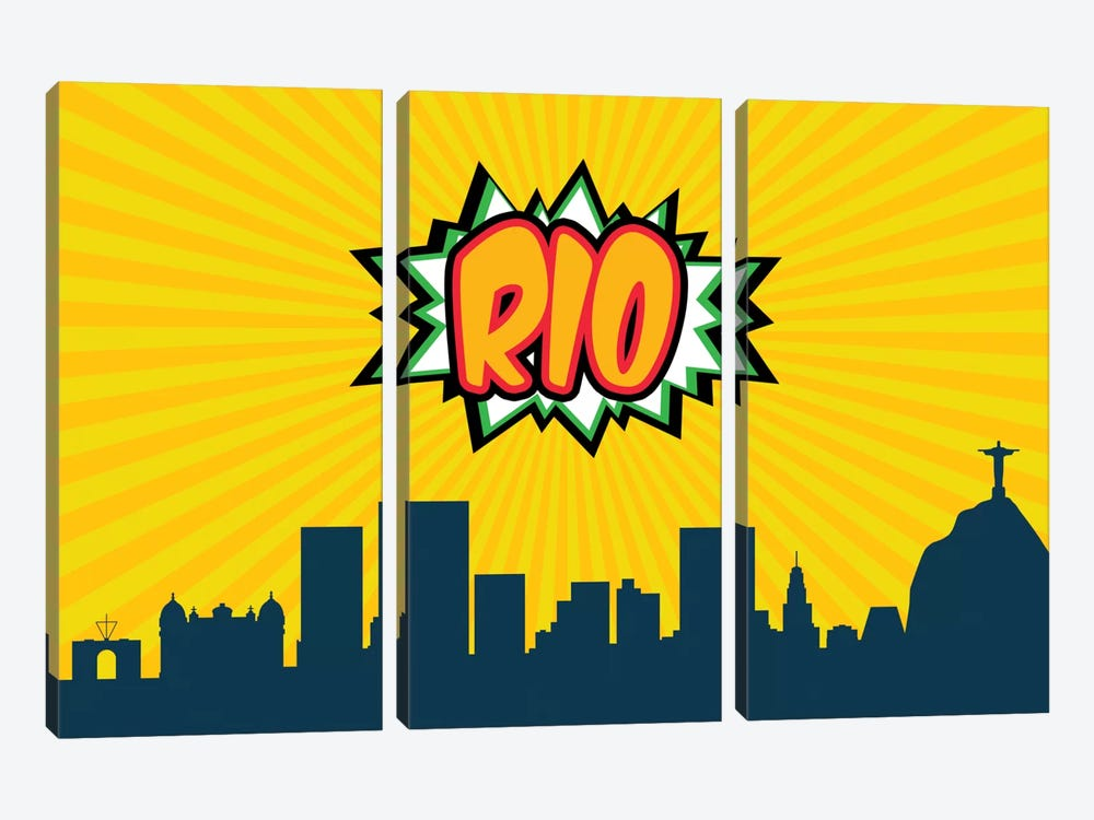 Comic Book Skyline Series: Rio by Octavian Mielu 3-piece Canvas Art Print