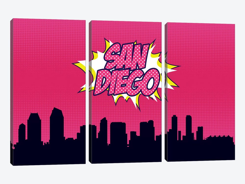 Comic Book Skyline Series: San Diego by Octavian Mielu 3-piece Art Print