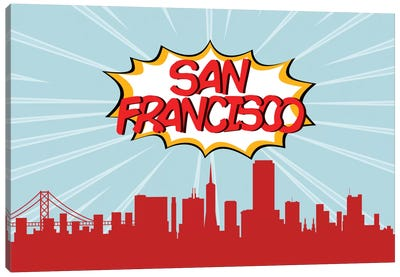 Comic Book Skyline Series: San Francisco Canvas Art Print