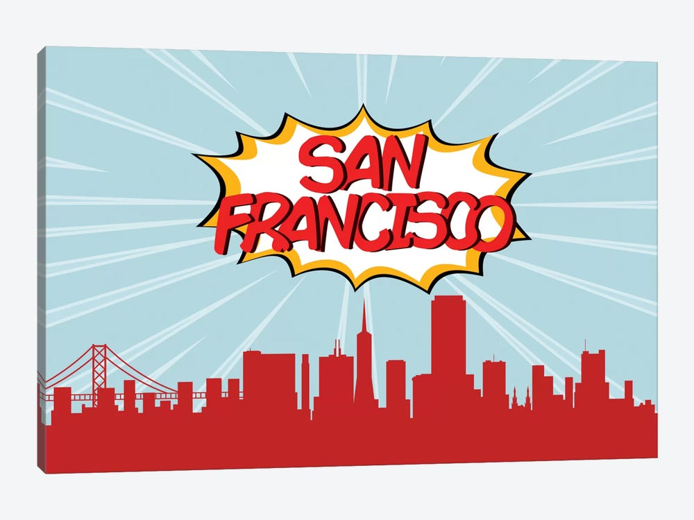 Comic Book Skyline Series: San Francisco by Octavian Mielu 1-piece Art Print