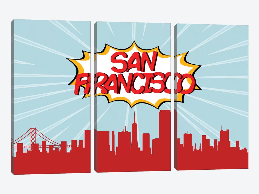 Comic Book Skyline Series: San Francisco by Octavian Mielu 3-piece Art Print