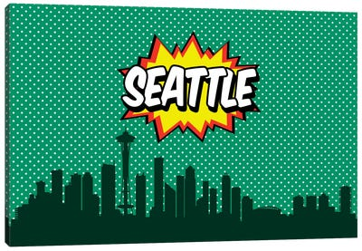 Comic Book Skyline Series: Seattle Canvas Art Print