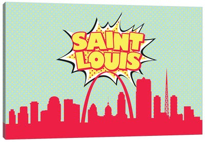 Comic Book Skyline Series: St. Louis Canvas Print #OMU93