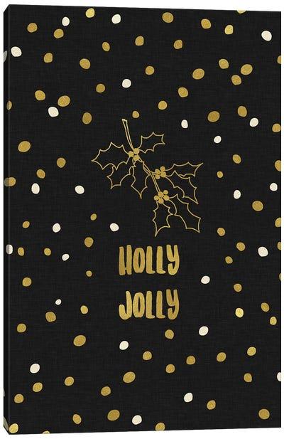 Holly Jolly Gold Canvas Art Print