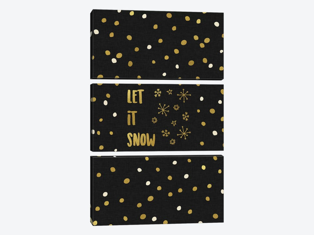 Let It Snow Gold 3-piece Canvas Wall Art