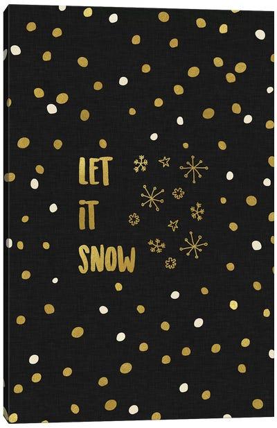 Let It Snow Gold Canvas Art Print
