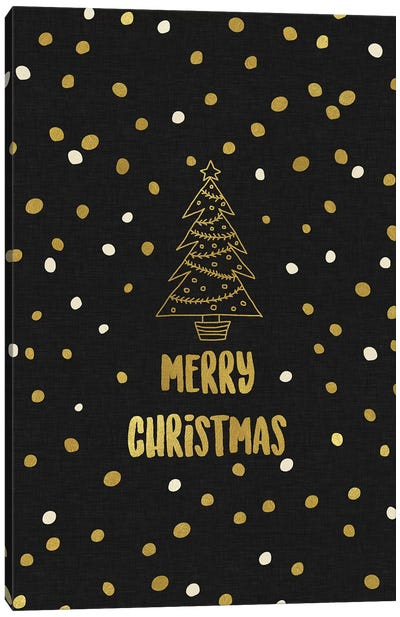 Merry Christmas Gold Canvas Art Print