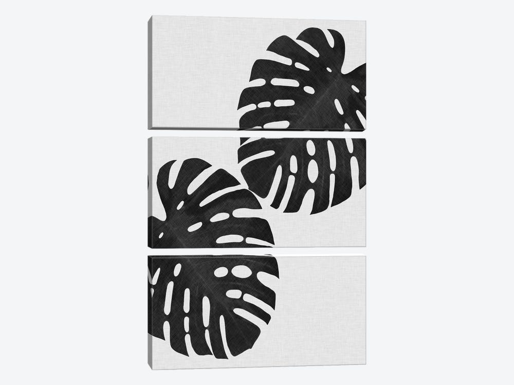 Monstera Leaf I B&W by Orara Studio 3-piece Canvas Art Print