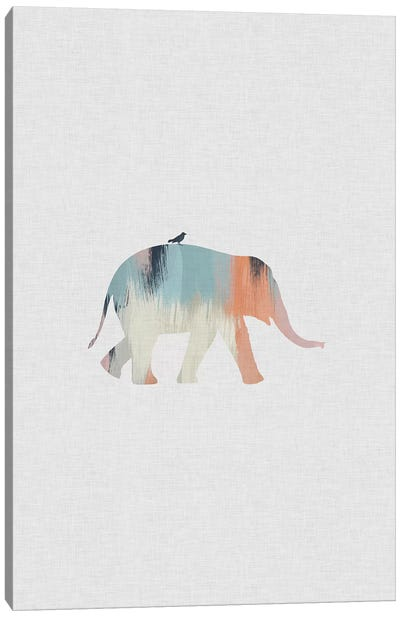 Pastel Elephant Canvas Art Print