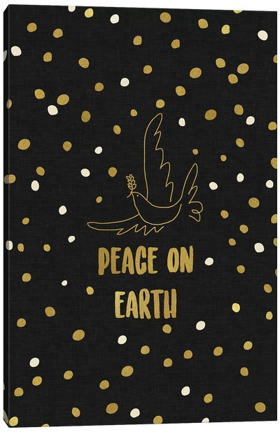 Peace On Earth Gold Canvas Art Print