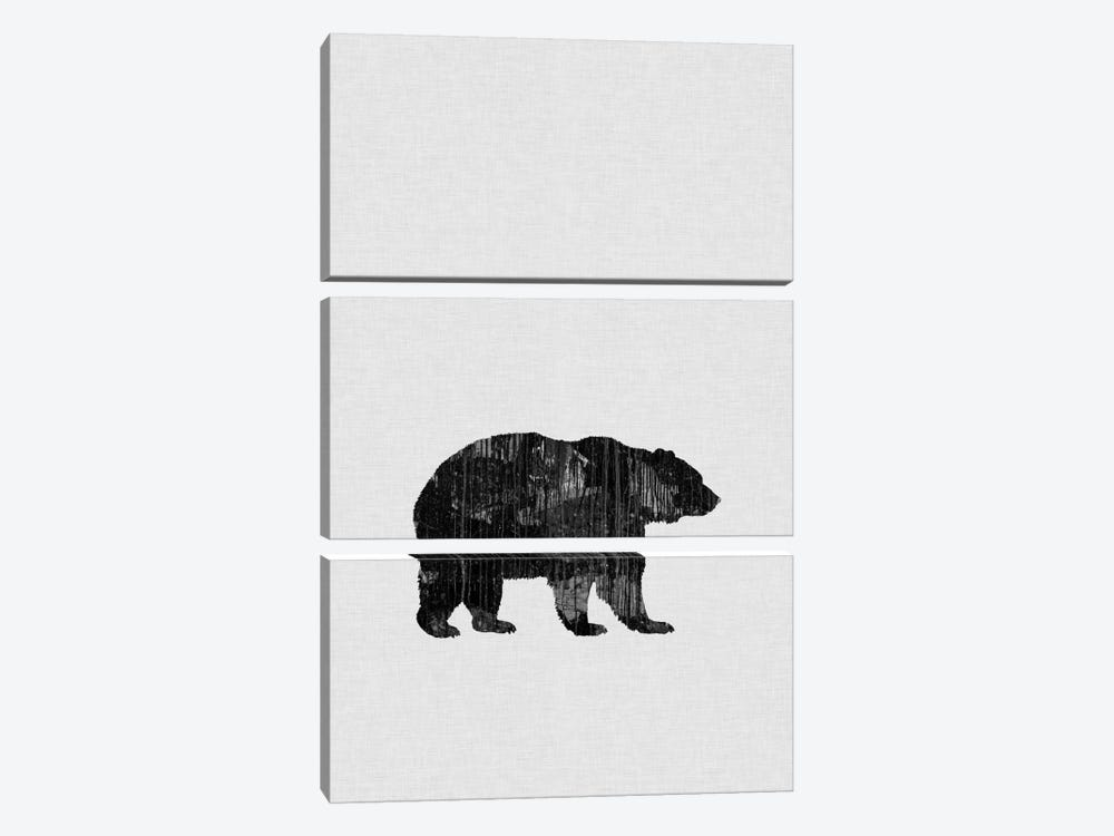 Bear B&W by Orara Studio 3-piece Canvas Wall Art