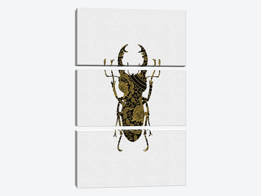 Black & Gold Beetle III by Orara Studio 3-piece Canvas Art Print