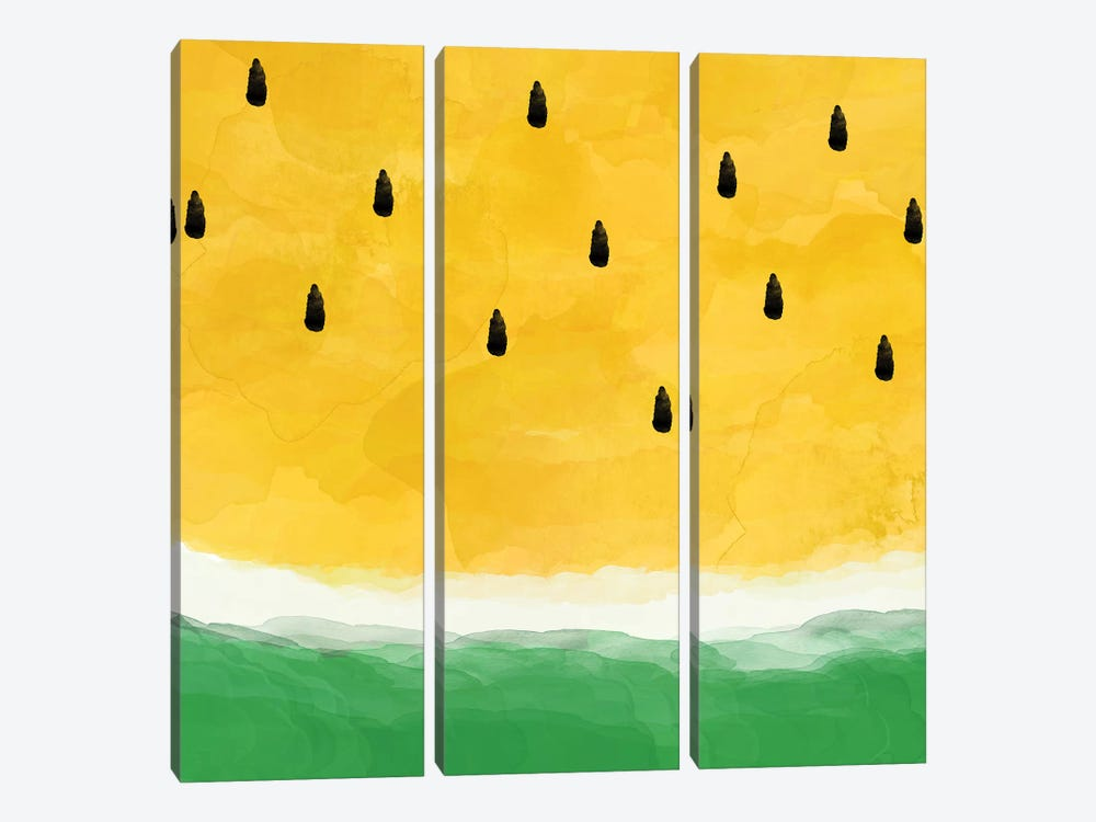 Yellow Watermelon Abstract by Orara Studio 3-piece Canvas Art